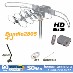 HD-2805 Ultra Outdoor TV Antenna + Flat Cable + J-Pole Bundle Package