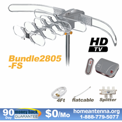 HD-2805 Ultra Outdoor TV Antenna + Flat Cable + Splitter Bundle Package