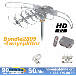 HD-2805 Ultra Outdoor TV Antenna with 4-Way Splitter Package