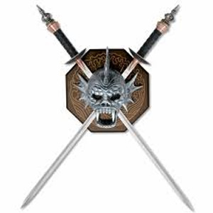 Warrior Head Display Plaque with Dual Swords