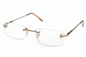 Contemporary Rimless Clear Bifocal with Gold Frame