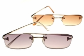 Contemporary Rimless Full Reading Lens Sunglasses