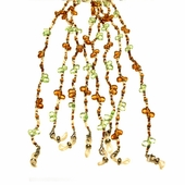 Green and Amber Beaded Eyeglass Chain