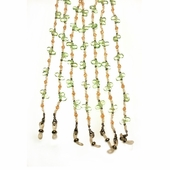 Green and Cream Beaded Eyeglass Chain
