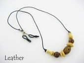 Natural Beads on Leather Eyeglass Cord