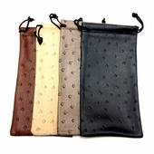 Ostrich Print Leather Drawstring Case