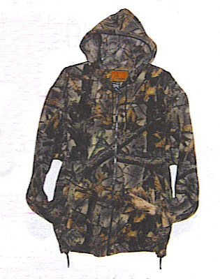 2913A-95  CAMOUFLAGE ZIPPER HOODED POLAR SWEATSHIRT