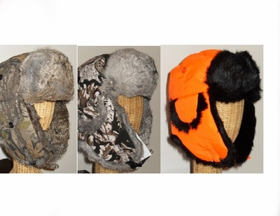 HG-SERIES   ALASKAN STYLE  RABBIT FUR AVIATOR/ TROOPER HAT.  CAMO, SNOW CAMO & BLAZE