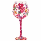 Conversation Hearts Super Bling Wine Glass by Lolita�
