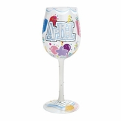 Happy April Wine Glass by Lolita�