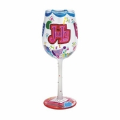 Happy July Wine Glass by Lolita�