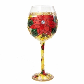 Poinsettia Super Bling Wine Glass by Lolita�