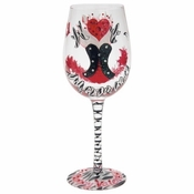 Red Hot Momma Valentine Wine Glass by Lolita