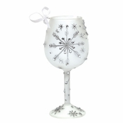 Silver Snowflake Mini Wine Glass Ornament by Lolita�