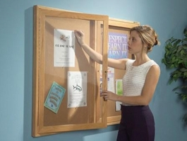 Oak Wood Enclosed Bulletin Board