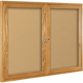 Oak Wood Enclosed Bulletin Board - Click to enlarge