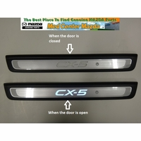 Mazda CX-5 Aluminum Scuff Plates with an illuminated CX-5 logo (Set of 2)
