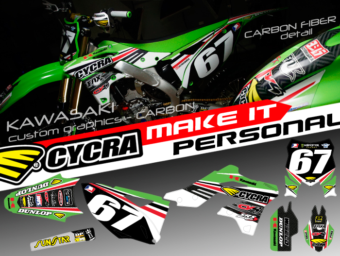 "CUSTOM GRAPHIC KIT ""CARBON"" KAWASAKI 450/250"