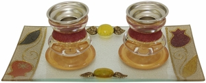 Candle Stick With Tray Small Applique - Red