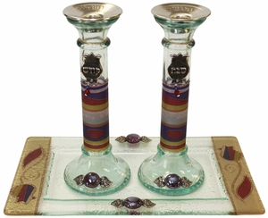 Candle Stick With Tray Large Applique - Purple Pomegranate