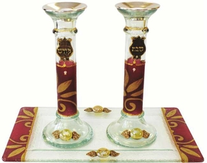 Candle Stick With Tray Large Applique - Burgundy