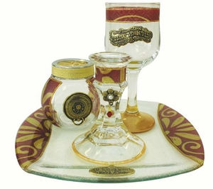Havdalah Set With Tray Applique - Burgundy
