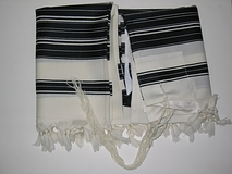 Talit Chabad Size 90 - Black  And White Stripes With Silk Lining