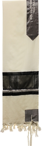 Wool Grey and Black Shades Tallit Set