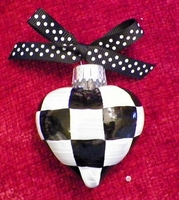 Hand painted black & white check glass heart ornament