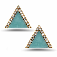 14K Gold, Turquoise and Diamond Earrings by Bassali