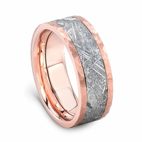 14K Rose Gold Meteorite Wedding Band by Lashbrook Designs