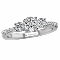 14K White Gold 3 Stone Diamond Engagement Ring by Romance, GIA Certified