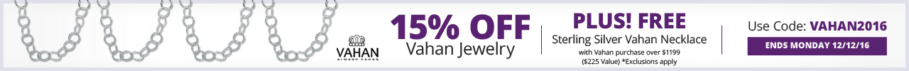 15% OFF Vahan Jewelry - Use Coupon Code: VAHAN2016