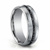14K White Gold Mens Ring With Black Diamonds by Benchmark