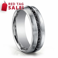 14K White Gold Mens Ring With Black Diamonds