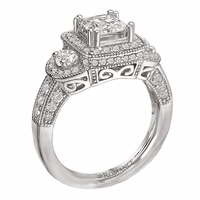 18K Diamond Engagement Ring With Halo .96ctw