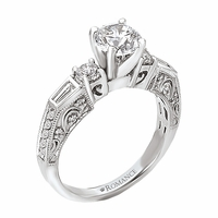 18K Ladies Engagement Ring With Baguettes .59ctw Romance Collection