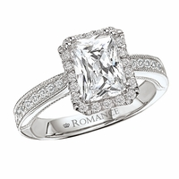 18K Pave Emerald Cut Engagement Ring With Halo .34ctw