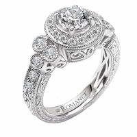18K White Gold Vintage Style Engagement Ring .58ctw