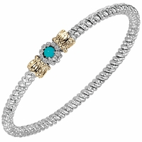 Alwand Vahan Sterling Silver & 14K Gold Bracelet with Diamonds & Turquoise