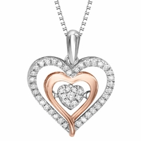 Rhythm of Love Sterling Silver and 10K Rose Gold Diamond Necklace