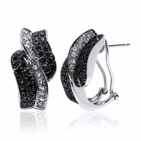 Black & white Diamond Earrings In 14K White Gold