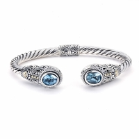 Blue Topaz Sterling Silver Bangle by Samuel B