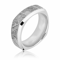 Meteorite and Cobalt Square Wedding Band by Lashbrook -