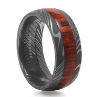 Damascus Steel & Exotic Hardwood Wedding Band