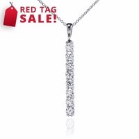 14K White Gold Diamond Bar Necklace 1ctw