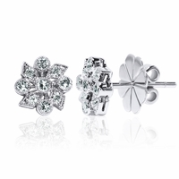 18K Diamond Earrings Vintage Floral Design