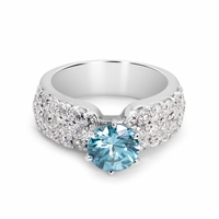 Estate 14K White Gold, Diamond Pave & Blue Zircon Ring