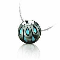 Galatea Carved Black Pearl, Turquoise & Diamond Necklace