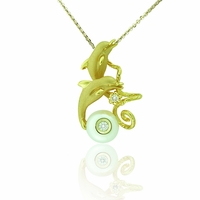 Galatea White Freshwater Pearl & Diamond Dolphin Necklace